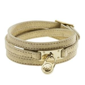 MICHAEL Michael Kors Accessories - MICHAEL Michael Kors Leather Wrap Bracelet in Gold