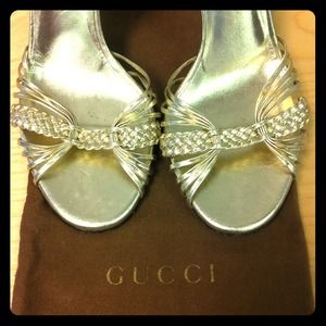 Gucci Shoes - RESERVED! Golden Gucci bamboo braided heels