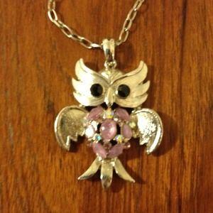 Jewelry - Owl Necklace with Purplish Stones