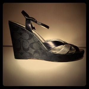Coach Black Wedge Sandals