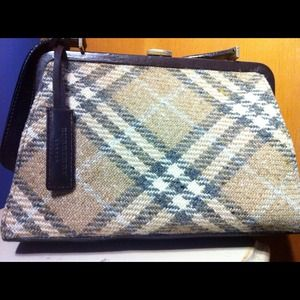 Burberry Handbags - Vintage Burberry Wool & Leather Handbag