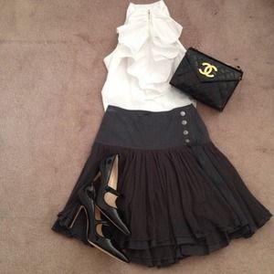 Auth Mango Charcoal Skirt