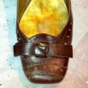 NINE WEST Bow Detail Leather Slingback Heels Brown