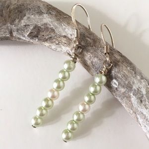 Mint Cream 7 Pearl Dainty Stick Earrings Handmade
