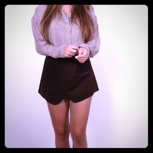 Classic Leather Suede Wrap Skirt