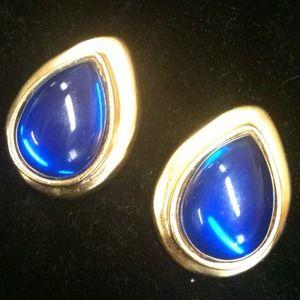 Jewelry - Fab! 80's Blue Glass Teardrop Pierced Earrings