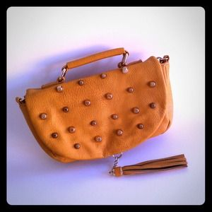 Handbags - Studded Mustard Cross Body Chain