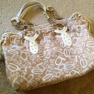bebe Handbags - Bebe Beige Gold White Leather Tassel Large Tote