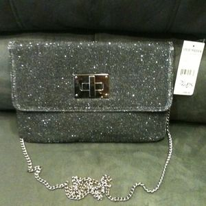 Steve Madden silver shimmery clutch with chain