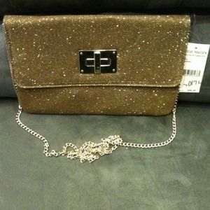 Steve Madden gold shimmery clutch with gold chain