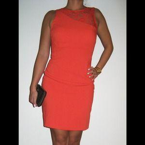Orange lace open back dress!