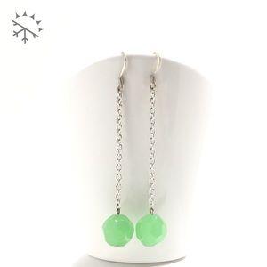 Jadeite Green Milk Glass Shoulder Duster Earrings