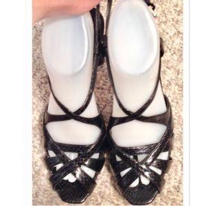 NINE WEST Snakeskin Slingback Platform Sandals