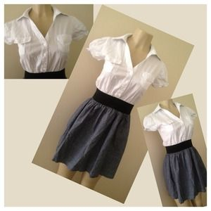Dresses & Skirts - Cute White n' Grey Dress