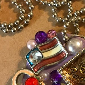handmade Jewelry - Dog tag necklace peace love and America NWOT