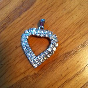 Vintage crystal heart pendant