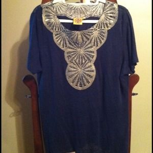 Tory Burch Tops - Tory Burch  Navy & Gold Tunic