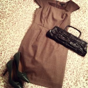 Banana Republic Dresses & Skirts - REDUCED!! Classic Taupe Cap-Sleeved Wool Dress
