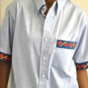 Light Blue Short Sleeve Button-Up