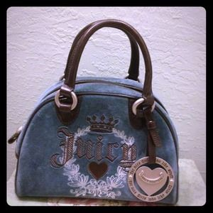 Juicy Couture Handbags - REDUCED juicy couture velour dark blue & brown bag