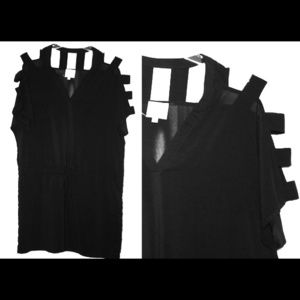Black drawstring dress with shoulder cut outs