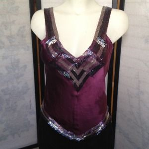 bebe Tops - SOLD Bebe Purple Silver Beaded Silk Tank Top Small