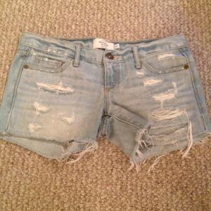 Abercrombie & Fitch light blue denim shorts