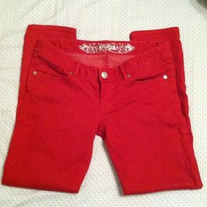 Express Pants - RESERVED 4 @cstrozier - Express skinny red jeans