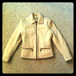 Leather Limited Outerwear - Amazing Small Tan Leather Jacket Motorcycle winter