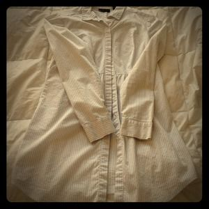 White pinstripe button up tunic