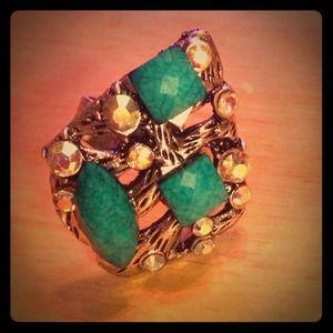 Jewelry - Turquoise & Rhinestone Ring