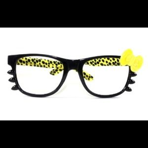 Accessories - Yellow Leopard Hello Kitty Glasses