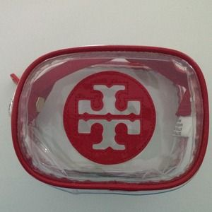 Tory Burch Accessories - Tory Burch clear cosmetic case red logo