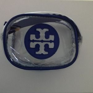 Tory Burch Accessories - Blue Tory Burch logo clear cosmetic case