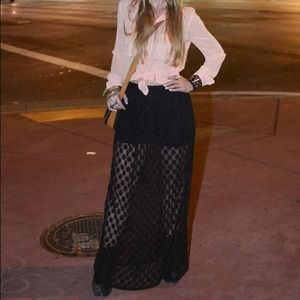 Forever 21 Skirts - Black sheer Polk dot skirt