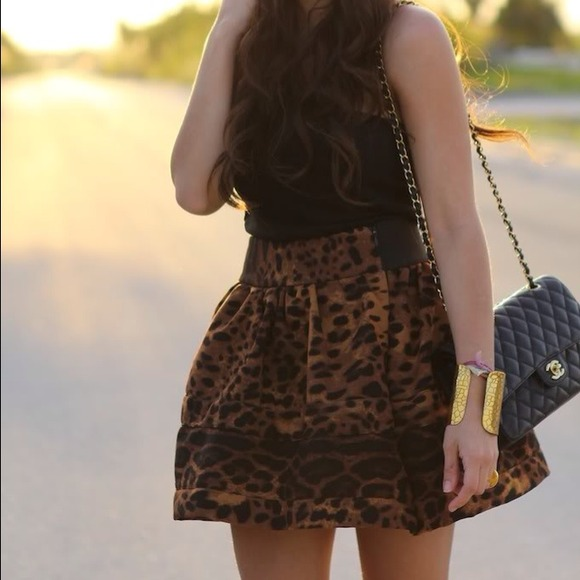 Skirts - Leopard structured skirt