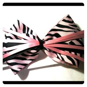 Pink and black zebra bow