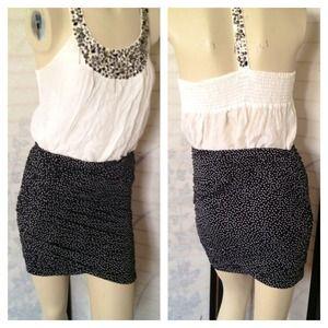 bebe Dresses & Skirts - RESERVE NWT Bebe Polka Dot Ruched Mini Skirt