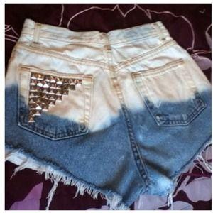 Denim - Bleached studded high waisted denim shorts :)