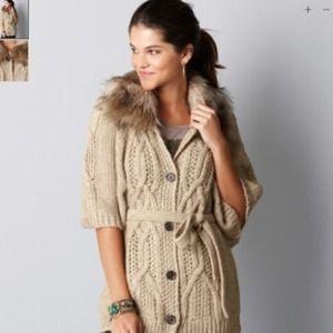 LOFT Outerwear - NEW Ann Taylor Loft Beige Faux Fur Cape Cardigan