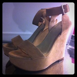 ALDO Shoes - ALDO Taupe Suede Wedges with Ankle Strap