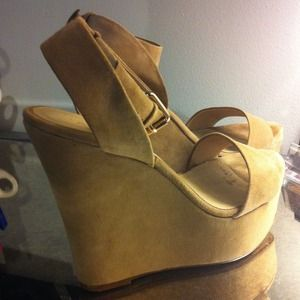 ALDO Shoes - ALDO Taupe Suede Wedges with Ankle Strap 3