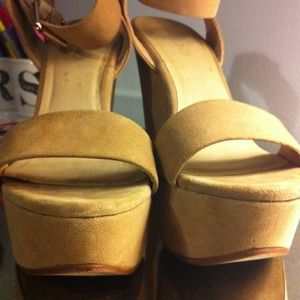 ALDO Shoes - ALDO Taupe Suede Wedges with Ankle Strap 4