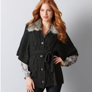 LOFT Outerwear - SOLD  Ann Taylor Loft Faux Fur Collar Cape Jacket