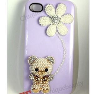 Accessories - Pearl Bear with Flower iPhone 4/4S Case