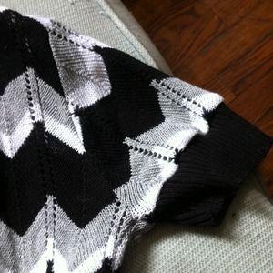 Tops - black grey and white chevron sweater