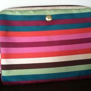 """Authentic striped Coach laptop case. 11x14""""."""