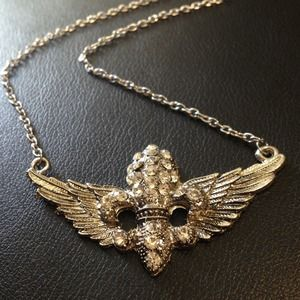 Jewelry - Winged Fleur de Lis Necklace Silver