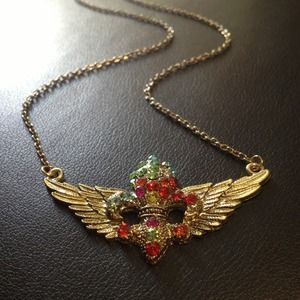 Jewelry - Winged Fleur de Lis Necklace Gold Multicolor