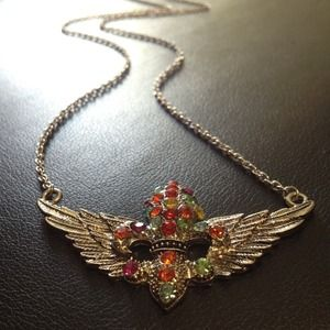 Jewelry - Winged Fleur de Lis Necklace Silver Multicolor